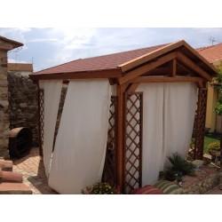 Gazebo a capanna, copertura in perlinato e guaina o telo in PVC